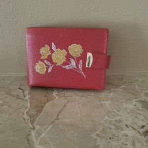 1970's Vintage Red Floral Leather Wallet